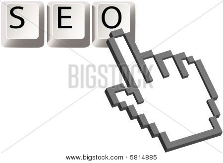 Hand Pixel Cursor Clicks On Seo Keys Search Optimized