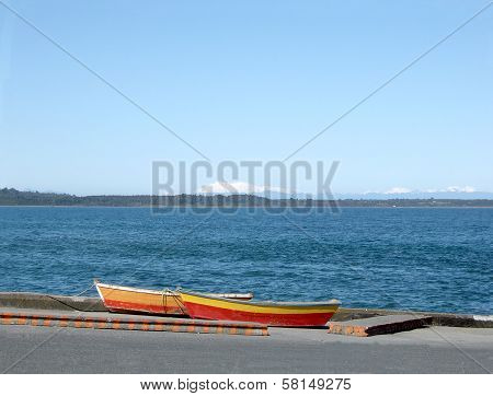 Two Colorful Fishermen's Boats In Puerto Montt