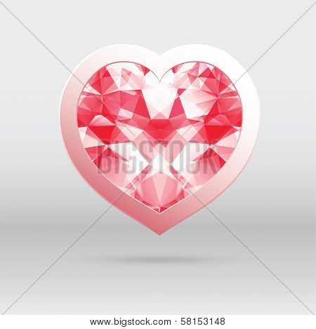 Vector Heart With Diamond Mosaic, Abstract Design For Valentines Day.