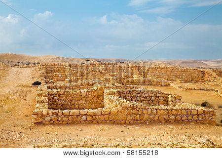 Remnant Of Roman Barracks In Desert