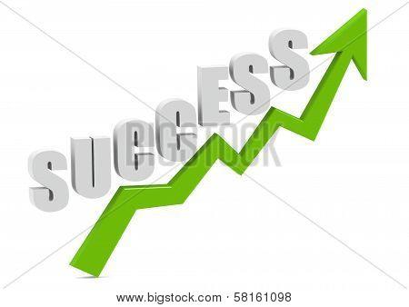 Success Word on green Growth Arrow