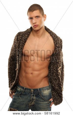 Athletic Young Man In The Unbuttoned Sweate