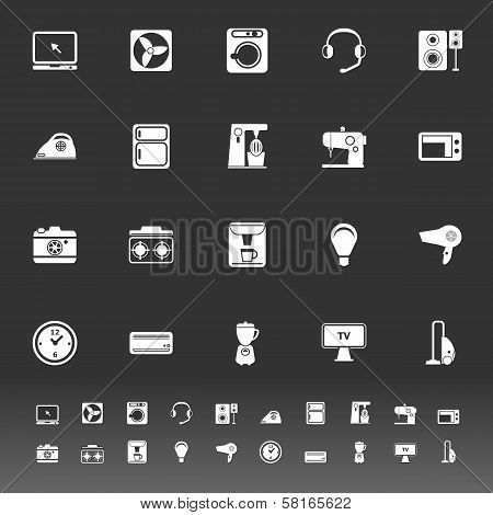 Electrical Machine Icons On Gray Background