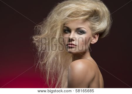 Sexy Female With Creative Hairdo