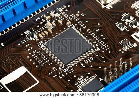 Laptop Microchip On Motherboard Closeup