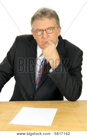 Pondering Middle Aged Businessman