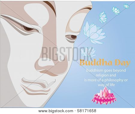 Buddha day colorful card. for Magha Puja Day