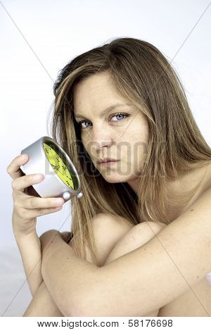 Tired Woman Angry With Alarm Clock