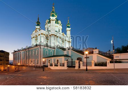 Andreevsky Church at night in Kiev