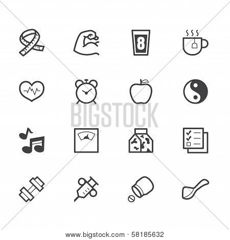 Healthy Elements Vector Black Icon Set On White Background