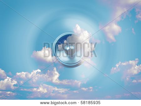 Spinning Music Speaker And Sky Background
