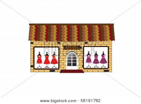 Storefront. Small boutique - images of dresses in the window