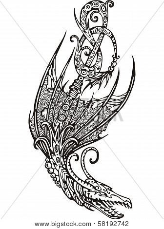 Stylized Winged Dragon