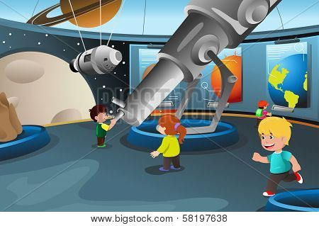 Kids On A Field Trip To A Planetarium