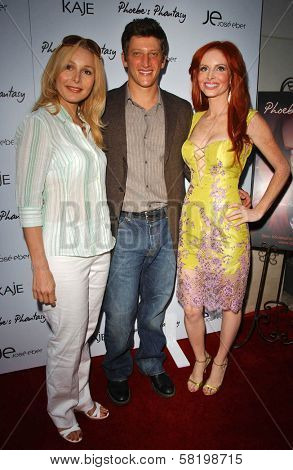Elle Travis with Josh Fineman and Phoebe Price at the launch of Phoebe's Phantasy by Lotion Glow. Kaje Boutique, Beverly Hills, CA. 06-16-07