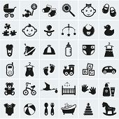 stock photo of black horse  - Collection of 36 baby icons - JPG