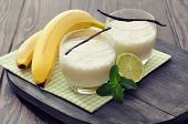 foto of milk glass  - Banana milk shake in glass with vanilla mint and lime - JPG