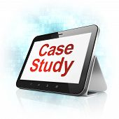 Education concept: Case Study on tablet pc computer