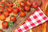 stock photo of oregano  - Olive Oil Roasted Tomatoes - JPG