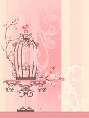 picture of caged  - vintage style spring season room with bird cage  - JPG