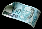 foto of brazilian money  - Photography Brazilian real money 100 bill on black background - JPG