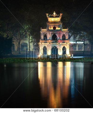 Turtle tower or Tortoise tower in Hoan Kiem lake or Sword lake in Hanoi, Vietnam