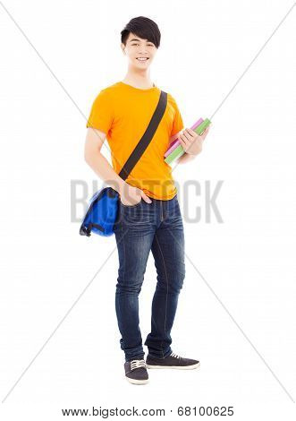 Young Student Holding Books And Slanting Knapsack
