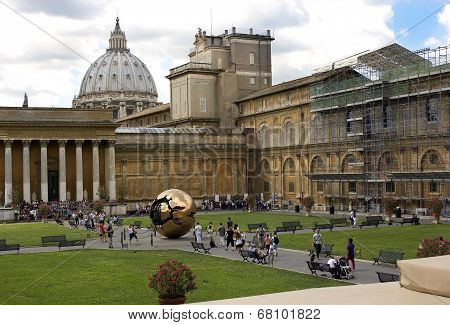 Tourists In The Patio Of Vatican