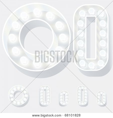 Vector illustration of unusual white lamp alphabet for light board. Letter o