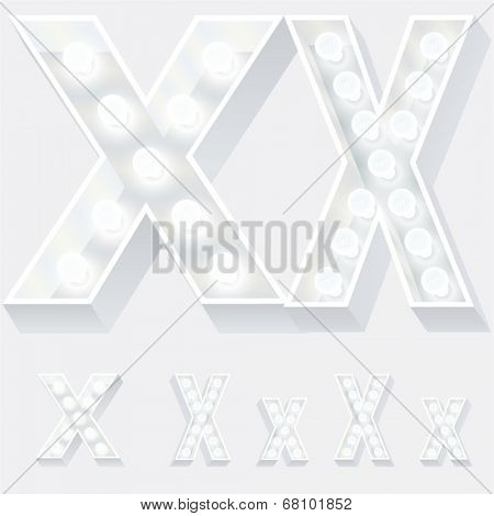 Vector illustration of unusual white lamp alphabet for light board. Letter x