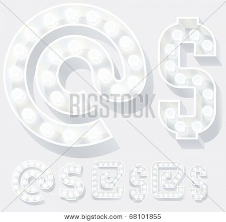 Vector illustration of unusual white lamp alphabet for light board. Symbols 2