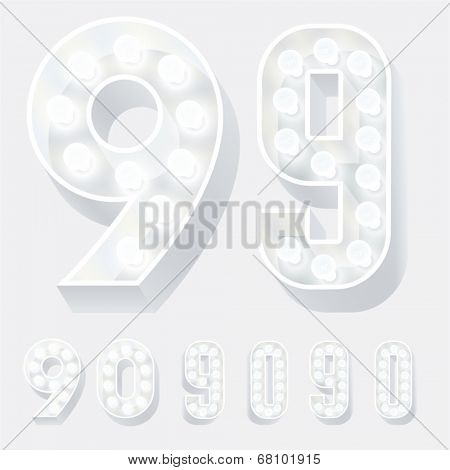 Vector illustration of unusual white lamp alphabet for light board. Numbers 9 0