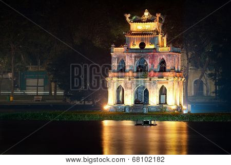 Turtle tower or Tortoise tower in Hoan Kiem lake in Hanoi, Vietnam