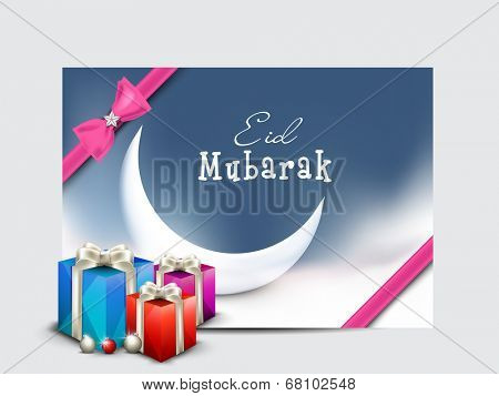 Stylish gift card with crescent moon and gift boxes on grey background for the celebration of Muslim community festival Eid Mubarak.