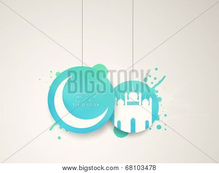 Hanging blue stickers with crescent moon and mosque on grey background for Muslim community festival Eid Mubarak celebrations.