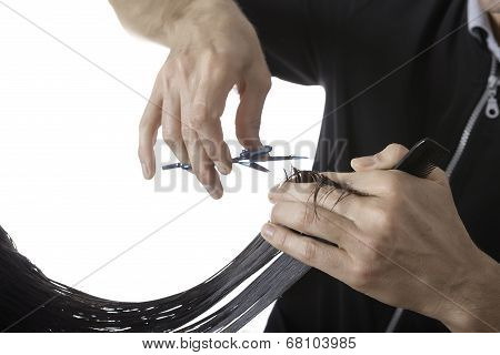 Hairstylist Cutting The Hair Ends