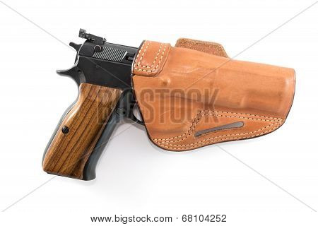 9mm Parabellum pistol in brown leather holster