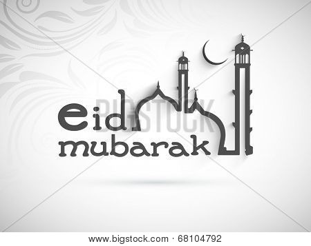Beautiful Eid Mubarak greeting card design with stylish mosque design on floral decorated grey background.