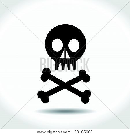 Black vector skull with crossed bones