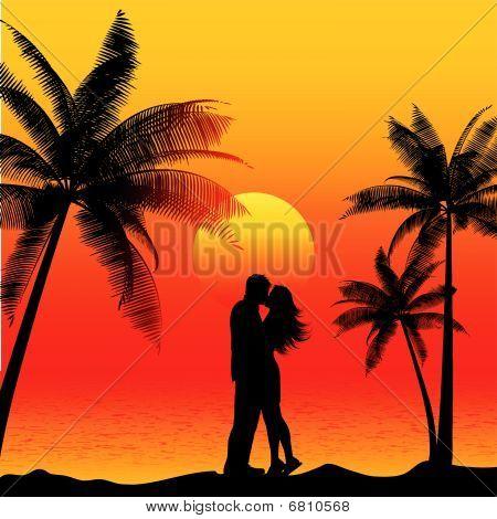 paar küssen am Strand