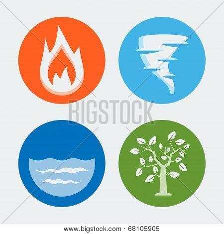 Four Elements - Vector Icons Set