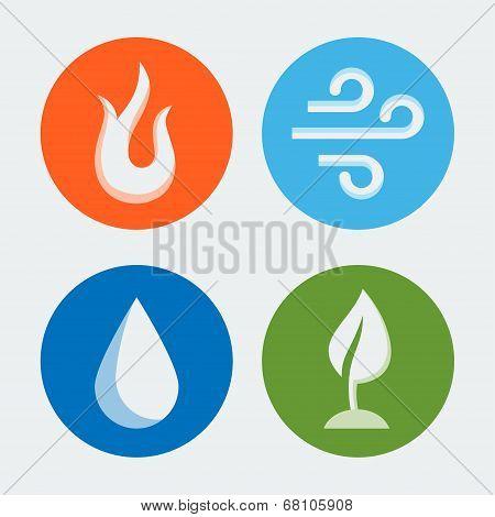 Four Elements - Vector Icons Set #2