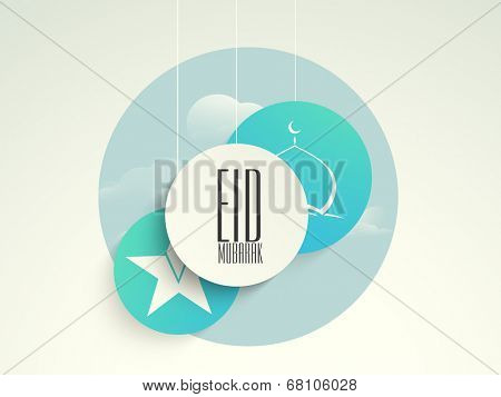 Stylish sticky for muslim community festival Eid Mubarak celebrations with white star and mosque on blue background.