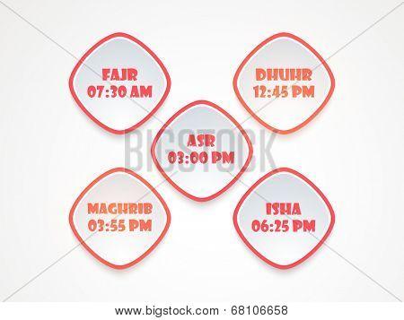 Five times of Namaz (Islamic Prayer) stickers.