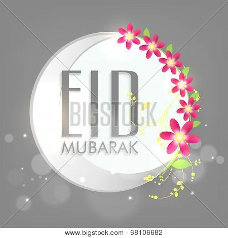 Stylish sticky design with silver crescent moon and floral decorated grey background for Muslim community festival Eid Mubarak celebrations.