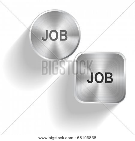 Job. Vector set steel buttons