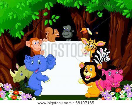 Cartoon wild animal holding blank sign