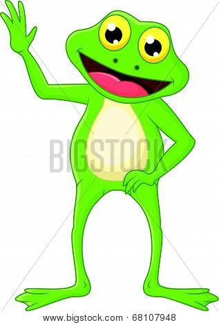 Cute cartoon green frog waving hand