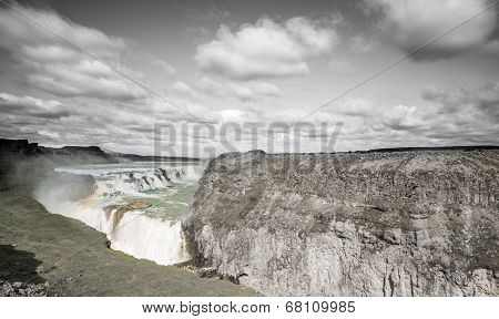 Waterfall Gullfoss in grayscale, Iceland