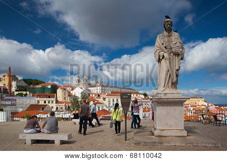 Famous Portas Do Sol Belvedere With St. Vicente Statue